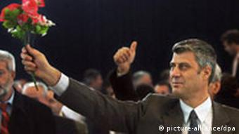 Prime Minister Hashim Thaci with flowers