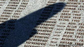 The engraved names of victims of the Srebrenica massacre