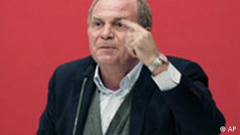 Uli Hoeness, Manager of the German first division Bundesliga team FC Bayern Munich, gestures during the General Annual Meeting of FC Bayern Munich in Munich, southern Germany, on Monday, Nov. 12, 2007.