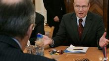 Russian Foreign Minister Sergey Lavrov, left, listens to Goran Lennmarker, president of the OSCE's parliamentary assembly during talks in Moscow on Friday, Nov. 16, 2007. (AP Photo/ Ivan Sekretarev)