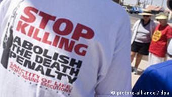 A t-shirt with the slogan Stop Killing: Abolish the Death Penalty