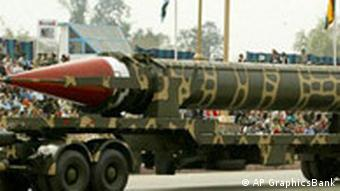 Pakistan-made nuclear-capable Ghauri missile on display during Pakistan National Day parade, Islamabad, Pakistan, photo on black