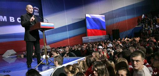Putin at a political rally in downtown Moscow