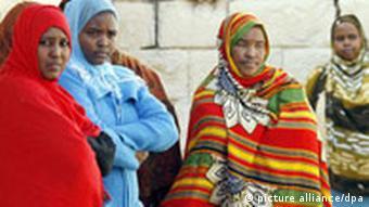 Somalian women in a refugee camp on Malta