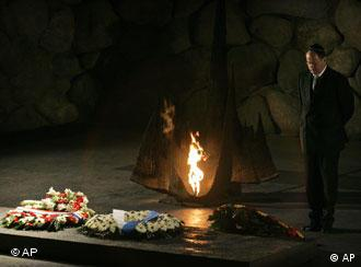German Finance Minister Peer Steinbrück, stands after laying a wreath in the Hall of Remembrance during a visit to the Yad Vashem Holocaust Memorial in Jerusalem.