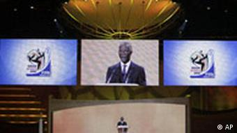 Screens showing South African president Thabo Mbeki's speech during the World Cup draw