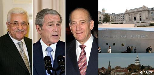 Combo Mittelost-Treffen in Annapolis v.l. Abbas, Bush, Olmert, v.o. US Naval Academy, Annapoliscombo.jpg