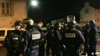 Riot policemen came out in full force in Villiers-le-Bel Tuesday evening
