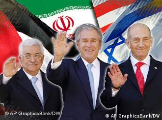 Palestinian Prime Minister Mahmoud Abbas, US President George W. Bush, and Israel Prime Minister Ehud Olmert (l-r), at Middle East peace summit, Annapolis, Maryland, on flag texture, partial graphic