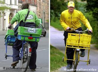 Ein Mitarbeiter der PIN-AG und ein Briefzusteller von der Deutschen Post (Archiv, Quelle: DPA)