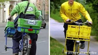 Deutsche Post mail carrier on bike and delivery person from other company in picture opposite