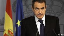Spain's Prime Minister Jose Luis Rodriguez Zapatero makes a statement at the Moncloa Palace, in Madrid, Saturday, Dec. 1, 2007. A Spanish civil guard, Raul Centeno Bayon, was shot and killed Saturday in a clash with members of Basque separatist group ETA in southwest France, the first death involving the group since it abandoned a cease-fire in June. Another Spanish officer was hospitalized with serious injuries after the shooting in Cap-Breton, a resort town on the French Atlantic coast. (AP Photo)
