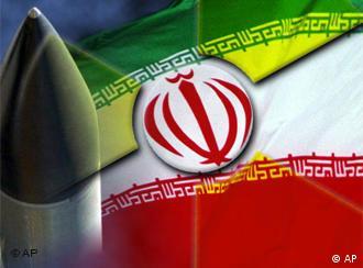 Symbolfoto Grafik Iran Atompläne Flagge und Atomsprengköpfe (Grafik: DW)