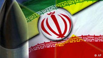 A missile and an Iranian flag