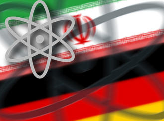 German and Iranian flag with a superimposed atomic sign