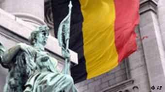Belgian flag and statue