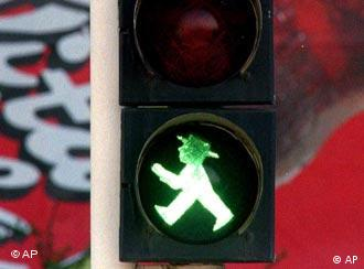 Berlin's green-hatted crosswalk man is an eastern German cult object.