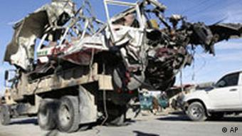 Wreckage of a minibus, which was destoryed by a suicide bomber in Afghanistan