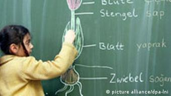Turkish girl learning German at blackboard
