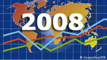 Map of world with chart of three indicators and the year 2008 upfront