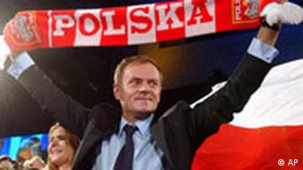Donald Tusk waves a Poland soccer scarf during parliamentary exit polls in 2007