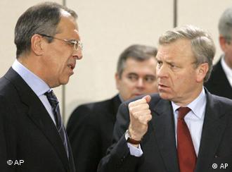 Сергей Лавров и Яап де Хооп Схеффер в Брюсселе 7 декабря 2007 года