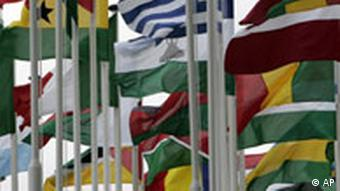 Maps of EU and African nations blow in the wind at an EU Africa Summit in Lisbon, Sunday Dec. 9, 2007.