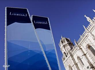 Two signs reading Lisboa and Lisbon outside the city's Jeronimos Monastery