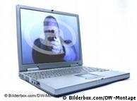 Symbolbild: Drohung mit einer Waffe per E-Mail auf einem Computer (Montage: DW)