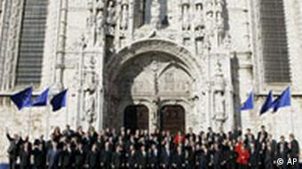 Leaders of the European Union countries pose for a group photo outside Lisbon's 16th century Jeronimos Monastery after signing the EU's Treaty of Lisbon Thursday, Dec. 13 2007.