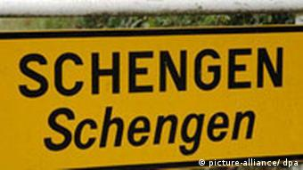 Sign with town name of Schengen on it