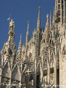Detail of upper part of Milan Cathedral