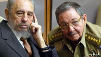 Fidel Castro, left, and his brother Raul