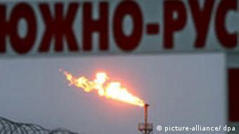 Газовый факел на Южно-русском месторождении