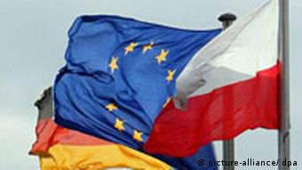 Flags of Polish, German and EU flags