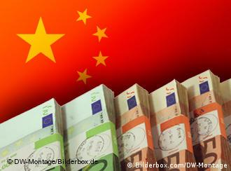 Chinese flag overlayed with Euro bills