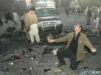 Scene of the suicide attack in Rawalpindi.