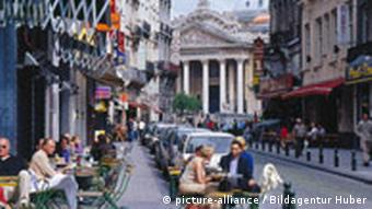 Street cafes near the Bourse in Brussels