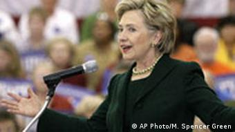 Presidential hopeful, Sen. Hillary Rodham Clinton, D-N.Y., speaks during a campaign event to commemorate Veterans Day Sunday, Nov. 11, 2007 at the convention center in Waterloo, Iowa.
