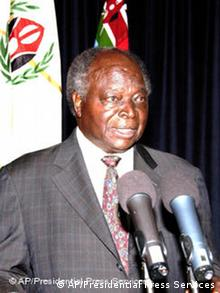 In this image released by the Kenyan Presidential Press Service President, President Mwai Kibaki addresses the nation during a live televised new year address to the nation at State House, Nairobi, Tuesday, Jan. 1, 2008. Kenyans ventured out in search of food on Tuesday after four days of violence killed more than 200 people and President Mwai Kibaki came under increasing pressure for what protesters called his sham re-election.The post election violence, which flared from the shantytowns of Nairobi to resort towns on the sweltering coast, has left 202 people dead since Saturday, according to accounts from police, morgues and witnesses Tuesday was calmer, although skirmishes were still reported in Nairobi's slums, which are home to tens of thousands of opposition supporters. Much of the capital has been a ghost town as residents hunkered down in their homes. (AP Photo- Presidential Press Services-HO)