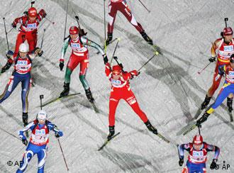 Biathletes start the Women's 4 x 6 km relay at the Biathlon World Cup in Oberhof, Germany, on Thursday, Jan. 3, 2008