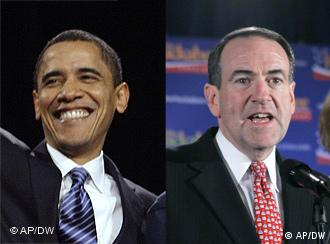 A composite picture shows Illinois Senator and US Democratic presidential candidate Barack Obama and former Arkansas governor and Republican presidential hopeful Mike Huckabee