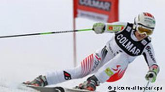 Austrian skier Elisabeth Goergl in action