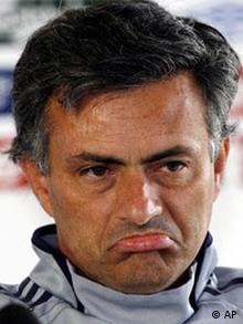 Inter coach Jose Mourinho frowning