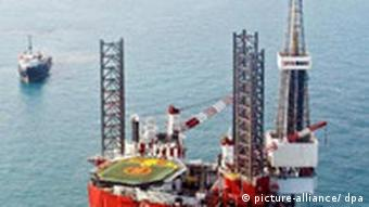 Offshore drilling platform 'Astra' (in pic) is located at the Tyub-Karagan area of the Kazakhstan's sector of the Caspian Sea