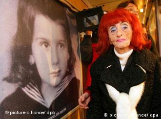 Holocaust survivor Margot Kleinberger at the Train of Commemoration exhibit in Frankfurt
