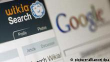 Ein Fenster mit der neuen Internetsuchmaschine Wikia Search ist am Montag (07.01.2008) in Hamburg zu sehen, ein Fenster mit der Suchmaschine Google ist ebenfalls geöffnet. Wikipedia-Gründer Wales hat am Montag (07.01.2008) seine offene Suchmaschine Wikia Search online geschaltet. Wie bei dem Internet-Lexikon Wikipedia sollen die Nutzer auch bei Wiki Search an der Entwicklung mitarbeiten. Foto: Jens Ressing dpa/lno (zu dpa 0152) +++(c) dpa - Bildfunk+++