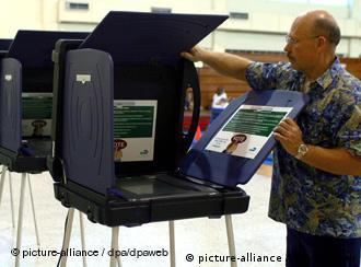 A man sets up a voting machine