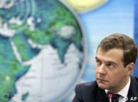 Russian President Medvedev, globe of world