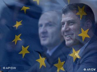 Kosovo's President and leader of the Democratic League of Kosovo (LDK), Fatmir Sejdiu, left, and Hashim Thaci, right, leader of the PDK